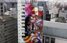 Oscar Neimeyer graffiti mural - Sao Palo, Brazil in memory died at 104
