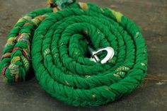 Green Dog Leash Made from Reclaimed Sari