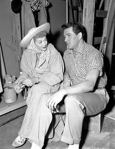 """Lucille Ball and Rock Hudson on the set of """"I Love Lucy"""""""
