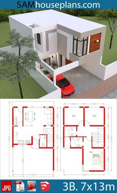 House Plan Discover House Plans with 3 Bedrooms - SamHousePlans House Plans with 3 Bedrooms - Sam House Plans Model House Plan, My House Plans, House Layout Plans, Duplex House Plans, Narrow House Plans, Modern Bungalow House Design, Duplex House Design, Small House Design, Home Building Design
