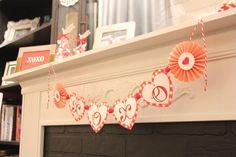 Valentine's Day {XOXO} - Heart & Medallion Banner - Made with the Cricut Machine and Martha Stewart Scoring Board