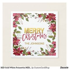 Watercolor Red Poinsettia with Faux Gold Trim Paper Napkin - wedding shower gifts party ideas diy cyo personalize Anniversary Decorations, Wedding Anniversary Gifts, Christmas Paper Napkins, Wedding Shower Gifts, Wedding Gifts, Watercolor Red, Gold Gifts, Bridal Gifts, Poinsettia