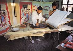Yangliuqing New Year's paintings are wood engravings combined the woodblock printing with manual painting,Tianjin Tianjin, Painting Studio, Wood Engraving, Woodblock Print, Printmaking, Japanese, Manual, Prints, Paintings