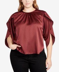 Rachel Rachel Roy Curvy Plus Size Julia Tie-Back Top - Red 0X