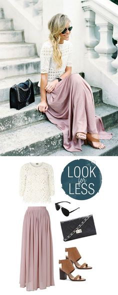 blush pink maxi skirt, white lace top and bag and glasses // Get the whole outfit for $126