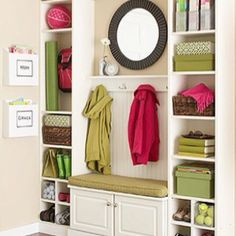 Mud/laundry room organizing idea - from Better Homes and Gardens