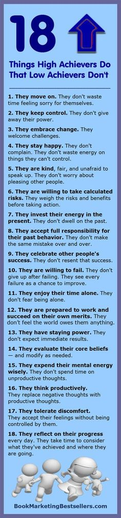 This positive Tip-O-Graphic reveals 18 things that high achievers do that low achievers don't. #success