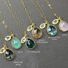 Crystal Bridal necklace  personalized Wedding pendant necklace Wedding jewellery  Bridesmaid jewelry Bridal jewelry bridesmaid gifts set