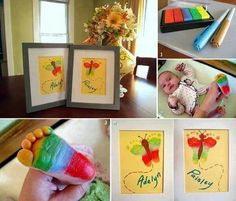 DIY Frame Footprint Art colorful art baby color diy frame diy ideas diy crafts do it yourself easy diy diy tips diy pictures craft ideas easy crafts home crafts family crafts kids crafts kids diy home diy Butterfly Artwork, Butterfly Baby, Butterfly Crafts, Rainbow Butterfly, Rainbow Baby, Butterfly Painting, Butterfly Print, Butterfly Wings, Butterfly Room