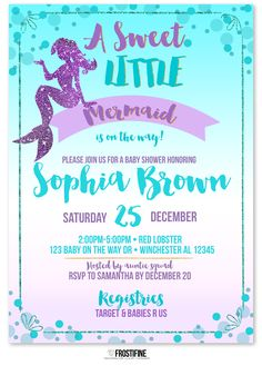 Mermaid baby shower invitation for your under the sea party theme. Teal, aqua, lavender, purple and golden glitter details. Perfect baby shower card to invite your guests to most amazing party of the year. This invitation also has matching party package to make your party complete - game cards, baby wishes and advice card, cupcake toppers, drink labels, banner and so much more - we have it all!