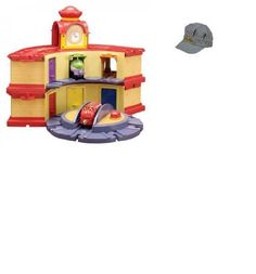 Chuggington Double Decker Roundhouse & Official Chuggington Engineer's Cap Bundle- Wooden Railway by Tomy. $90.00. Compatible with other wood train track systems. An Official Chuggington Engineer's Cap. DOES NOT Include Brewster, Wilson, and KoKo Engines from the Chuggington Wooden Railway Collection. Easy open color coded roundhouse garage doors. Elevating turntable for limitless fun.. 2-in-1 stackable design.  A 2 story Tower Roundhouse or 1 Circular Roundhouse Layout. Chuggin...