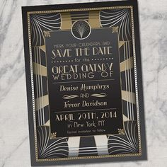 Retro Great Gatsby Style Art Deco 1920s PRINTABLE Save the Date Wedding Announcement