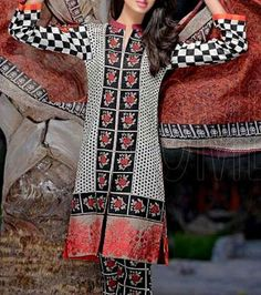Buy Black/White Embroidered Cotton Lawn Dress by Combinations 2016 Buy Salwar Kameez Online, Ladies Salwar Kameez, Us Online Clothing Stores, Dresses Online, Pakistani Suits, Pakistani Dresses, Modest Dresses, Kurtis, Indian Outfits