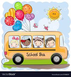 Back to school. School bus and four cute cartoon kids royalty free illustration School Bus Drawing, Cartoon School Bus, Bus Cartoon, Cute Cartoon Girl, Cartoon Kids, School Bus Art, School Bus Clipart, School School, Art Drawings For Kids