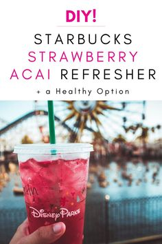 DIY Starbucks Strawberry Acai Refresher [In Just 15 Minutes] Looking for a way to save mone on your Starbucks Run! Here is an amazing Starbucks Strawberry Acai Refresher Recipe to make at home + a healhty option. Acai Refresher Recipe, Starbucks Strawberry Acai Refresher, Strawberry Drinks, Best Starbucks Drinks, Starbucks Tea, Healthy Starbucks, Starbucks Recipes, Recipes, Aguas Frescas