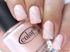 Pearls And Lace Nail Art Ordinarymisfit Gem Nails Pearl
