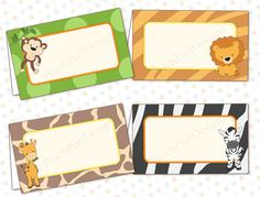 Safari baby shower food labels INSTANT by PeachPuffDesigns on Etsy