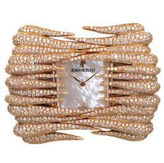 Diamond Watches Ideas : Audemars Piguet Lady's Rose Gold Diamond Set Givrine Wristwatch - Watches Topia - Watches: Best Lists, Trends & the Latest Styles Elegant Watches, Stylish Watches, Beautiful Watches, Unique Watches, Rose Gold Jewelry, High Jewelry, Luxury Jewelry, Diamond Jewelry, Gold Jewellery