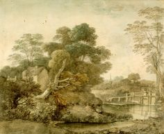 thomas gainsborough - landscape with cottage and stream, about 1750, drawn with watercolours and pencil
