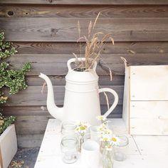Alweer ruim een week geleden dat ik bloemen plukte met Valentijn om de tuin gezellig te maken voor het feestje van z'n broertje. Valentijn wilde graag deze 'kietels' plukken  #mynewhome #mynewgarden #garden #tuin #loungebank #steigerhout #steigerhoutenmeubelen #xalalungo #gieter #jampotjes #waxinelichtjes #bloemen #flower #achtertuin #buiten #buitenleven
