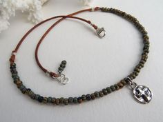 """Silver rustic cross, Leather beaded necklace, """"Have Faith"""" Bohemian style Sterling silver cross charm by Hello Sweetie Handmade"""