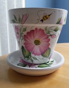 Hand painted Flower Pot  & Matching Saucer: 6 by RaindropsNRoses