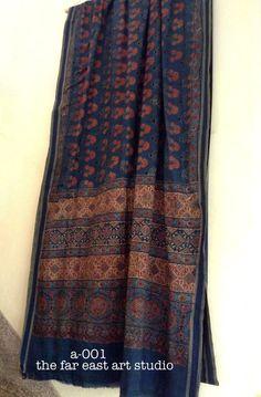 Reserved Ajrakh printed khadi saree / by TheFarEastArtStudio