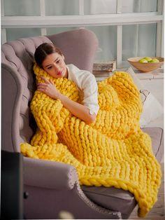 SALE! Chunky Knit Blanket for home decor Wool blanket Knitted throw bulky Throw super blanket Chunky Gift Khaki Wedding Gift Lemon Yellow