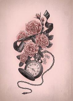 fleur et montre de poche