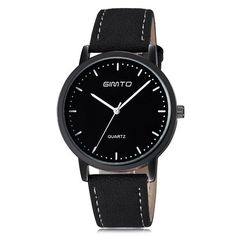 GIMTO 2017 Fashion Business Wrist Watch Men Top Brand Luxury Famous Male Clock Quartz Watch for Men Hodinky Relogio Masculino Fossil Watches For Men, Army Watches, Vintage Watches For Men, Sport Watches, Cool Watches, Wrist Watches, Stylish Watches, Black Leather Watch, Mens Watches Leather
