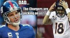 San Diego Chargers ~ back to back ~ Eli Manning & Peyton Manning