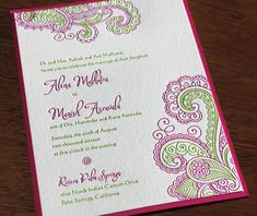 Chandra - New Spring 2015 Design - Letterpress wedding invitation with second paper layer | Invitations by Ajalon | http://www.invitationsbyajalon.com/