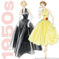 1950s Vintage Vogue V2962: Misses Halter Dress Sewing Pattern