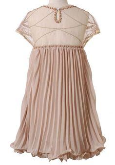 Apricot Pink Plain Beading Pleated Cap Sleeve Round Neck Chiffon Dress