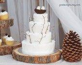"18"" STUMP Rustic Wood Tree Trunk Slice Wedding Cake Base or Photography Prop"