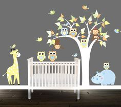 Owl Wall Decal babys Nursery Tree Hippo by BeautifulWalls