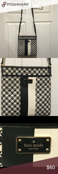 Kate Spade Purse Kate Spade crossbody purse.  Great condition! Signature black and white print on outside with hot pink inside.  One outside pocket with 3 inside pockets. kate spade Bags Crossbody Bags