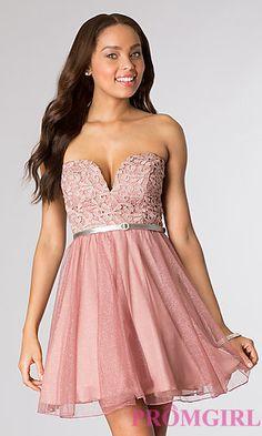BRIDESMAID DRESS :) Mauve/Silver - Short Strapless Lace Dress at PromGirl.com