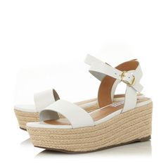 b0e456f1ac9e BUSY SM - Low Wedge Heel Two Part Sandal - white