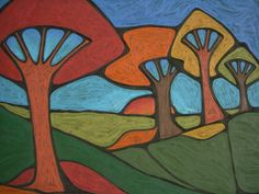 """Oil pastel """"Autumn Sunset"""" by  D. D'Acquisto Graham"""