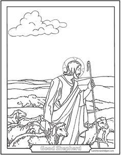 jesus good shepherd coloring page