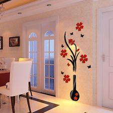 3D DIY Vase Flower Tree Crystal Arcylic Wall Sticker Home Room...