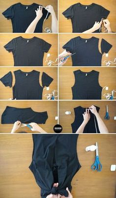 diy clothes upcycle / diy clothes - diy clothes refashion - diy clothes no sewing - diy clothes rack - diy clothes videos - diy clothes upcycle - diy clothes line outside - diy clothes refashion no sew T-shirt Refashion, Diy Clothes Refashion, Thrift Store Diy Clothes, Revamp Clothes, Diy Clothes Tutorial, Diy Summer Clothes, Shirt Alterations, Diy Kleidung, Diy Clothes Videos