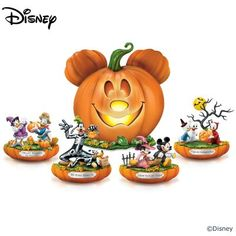 Disney Halloween Pumpkin Patch Figurine Collection: Centerpiece Lights Up Fairy Halloween Costumes, Halloween Scene, Halloween Village, Halloween Pumpkins, Fall Halloween, Couple Halloween, Halloween Stuff, Halloween Ideas, Disney Halloween Decorations