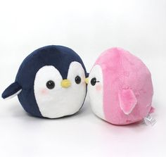 Plushie Sewing Pattern PDF for cute soft plush toy - Round Penguin cuddly stuffed animal 4.5""