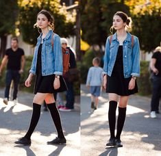 Zara Tee, H&M Skirt, Zara Socks, S.Oliver Oxfords, Gap Denim Jacket, Fjallraven Kanken