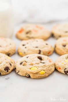 Well hello there you chunky little Reese's Pieces cookies you, don't you look delectable? Oh yeah. These Reese's Pieces cookies are thick and chewy and loaded with Reese's pieces! I don't know about you, but I'm not one to ever turn down anything peanut buttery, especially if it involves Reese's Pieces, so when I baked …