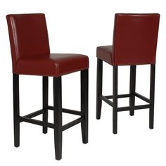 Designed to accommodate your bar in high style, the Citylight Barstools offers distinctive style and comfort. These stools feature a classic parsons chair design with gently flared backs and spacious seats. Faux leather upholstery adds a refined look. Strong, straight legs feature a contrasting espresso that works with a variety of decors. This set includes two Citylight Barstools that stand on solid birch wood frames. Stability and comfort come from the footrest stretchers. Plush padded…