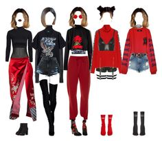 """throwback: seona's 'deep mood' outfits"" by secret-gxrdn ❤ liked on Polyvore featuring Isabel Marant, Vetements, NLY Trend, Simone Rocha, Dolce&Gabbana, Miu Miu, Alexander Wang, Lime Crime, T By Alexander Wang and River Island"