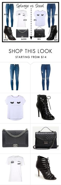 """Splurge vs. Steal: Outfit"" by kelseyclissold on Polyvore featuring Frame Denim, Current/Elliott, Chicnova Fashion, Chanel, Chiara Ferragni, Ivanka Trump, chic, glam and splurgevssteal"